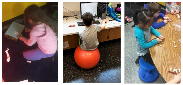 Students sitting on flexible seating options in classroom