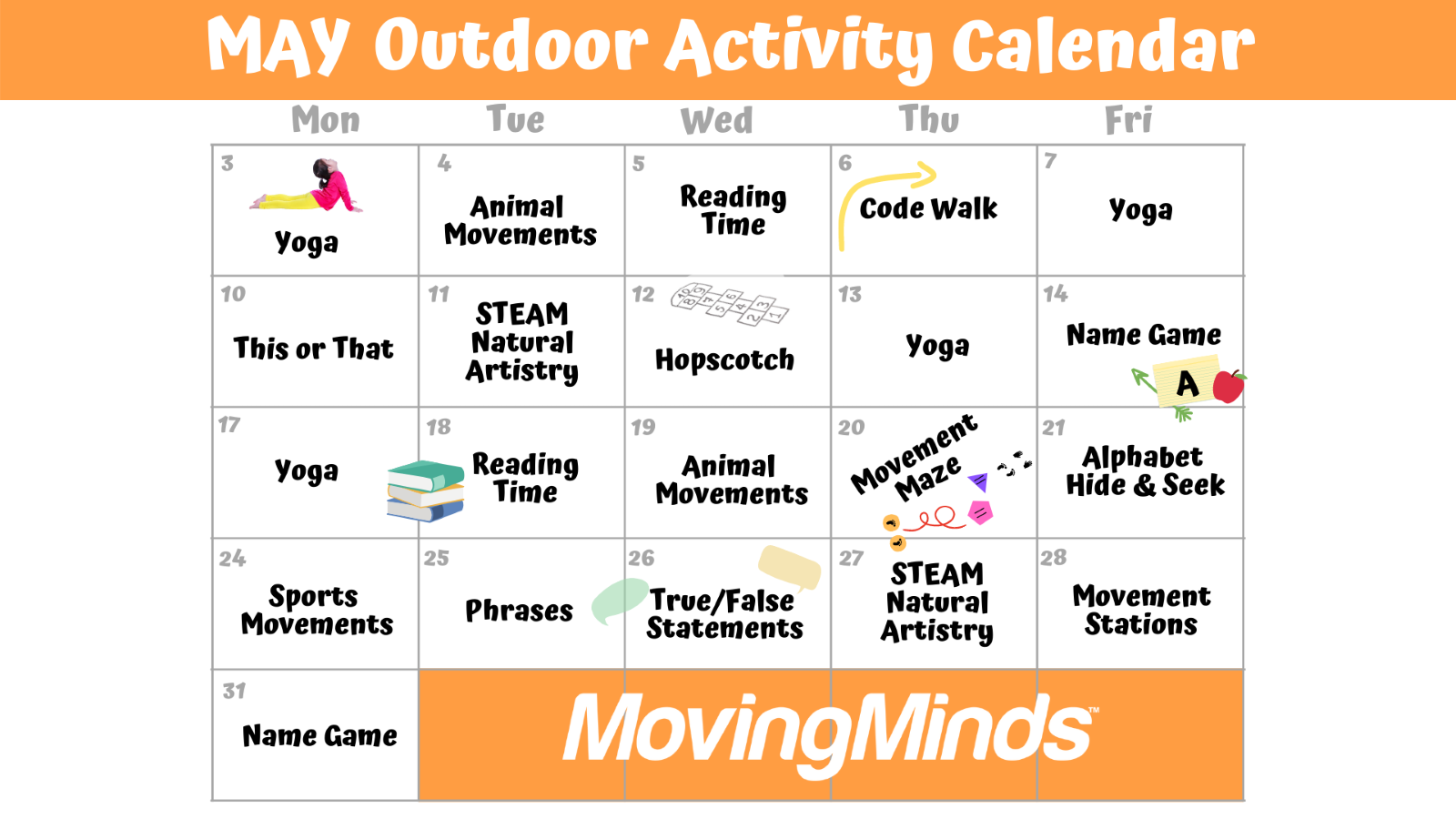 Outdoor class activity calendar